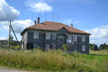 Old wooden residential building