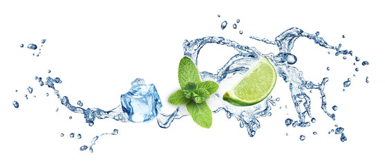 Ice cubes, mint leaves and lime on a white