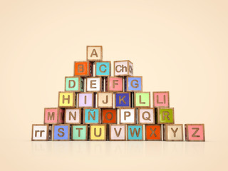 spanish alphabet made of cubes with letters. Alfabeto español