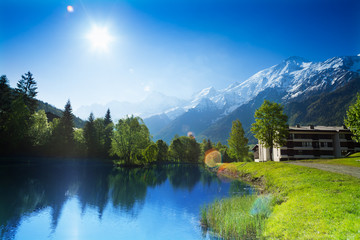 Wall Mural - Beautiful landscape with lake in Chamonix, France