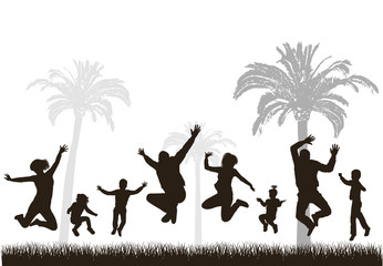 Young active family. Very detailed silhouettes.
