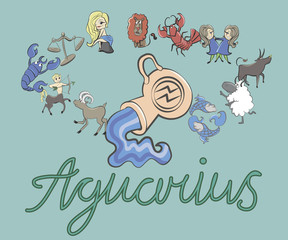 collection of cartoon zodiac signs headed by Aquarius