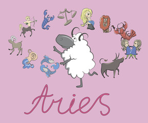 collection of cartoon zodiac signs headed by Aries