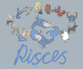 collection of cartoon zodiac signs headed by Pisces