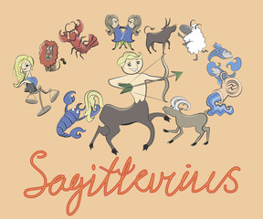 collection of cartoon zodiac signs headed by Sagittarius