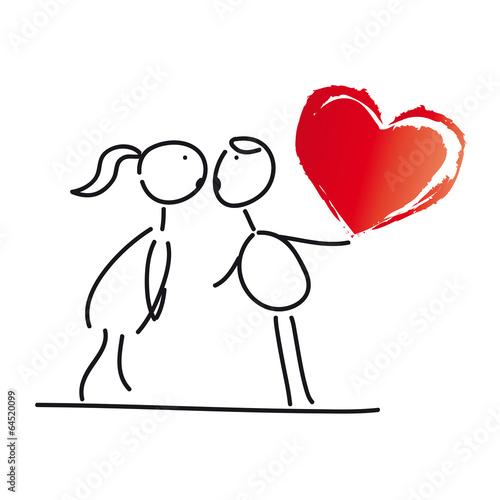 Gluckwunsch Zum Valentinstag Junges Paar Kusst Sich Rotes Herz