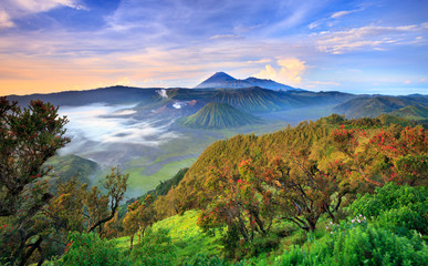 Bromo volcano at sunrise, East Java, , Indonesia