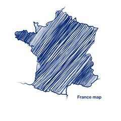 France map hand drawn background vector,illustration