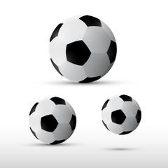 Football Balls Illustration Set Isolated on Grey Background