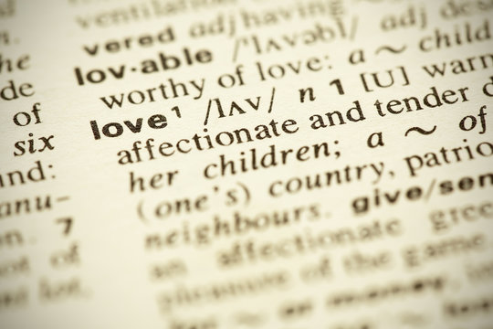 """Dictionary definition of the word """"LOVE"""" in English"""