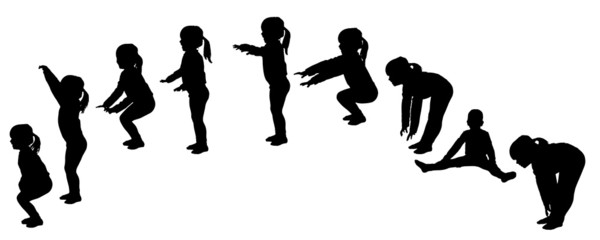Vector silhouette of little girl.