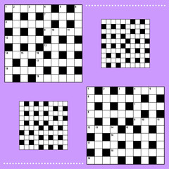 Crossword puzzle grids with corresponding answer grids