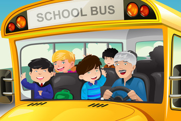 Kids having fun in a school bus