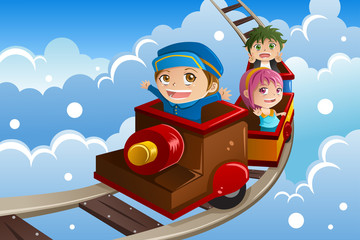 Kids riding a train
