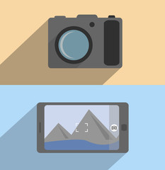 Flat concept camera and mobile phone.