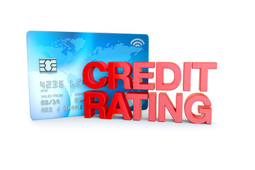 credit rating in red on a credit card background
