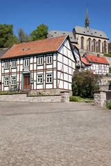 Blick von der Altstadt auf Kloster und Gymnasium Warburg