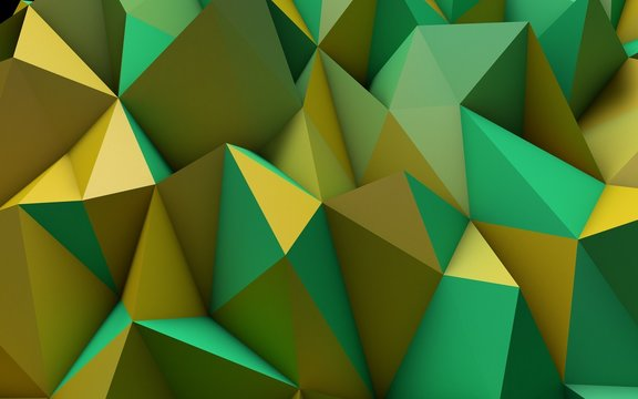 Abstract Yellow and Green Low Poly 3D Background