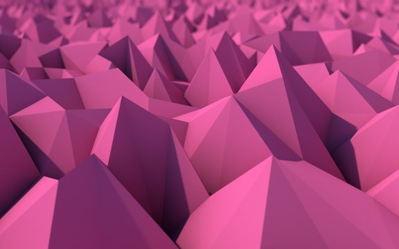 Abstract Purple Low Poly 3d Background with Depth of Field Effec
