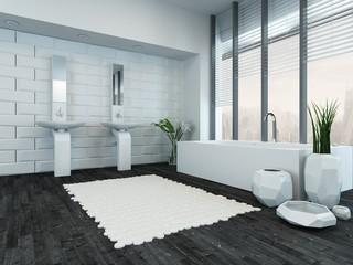 Modern luxury bathroom interior with bathtub