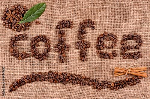 кофейные зерна мешковина ткань  № 3696091  скачать