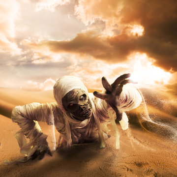 Scary mummy in a desert at sunset with copy space