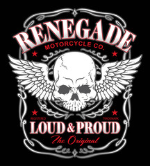 Renegade skull wings graphic