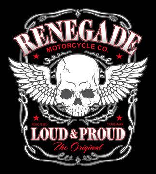 Renegade skull wings graphic