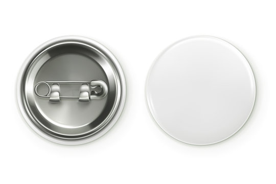 Blank white badge, vector realistic illustration
