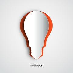 Lightbulb icon papercut, banner template for websites or busines