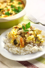Chicken breast and cauliflower casserole with rice