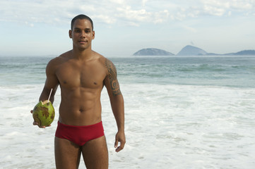 Smiling Brazilian Man Drinking Coconut Rio de Janeiro
