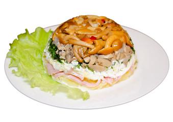 Layered salad with mushrooms