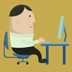 Cartoon concept : Business man working with computer and got e-m