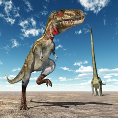 Die Dinosaurier Nanotyrannus und Mamenchisaurus