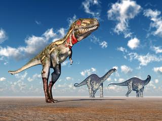 Die Dinosaurier Nanotyrannus und Apatosaurus
