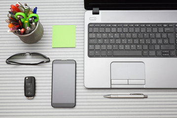 modern office desk with working accessories, top view