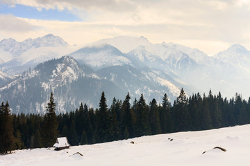 Winter view of frozen surface of High Tatra mountains