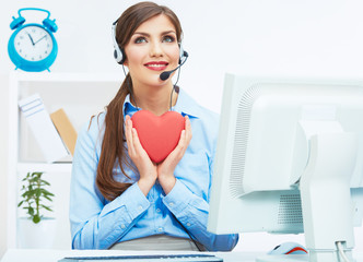Portrait of call center smiling operator with phone headset iso