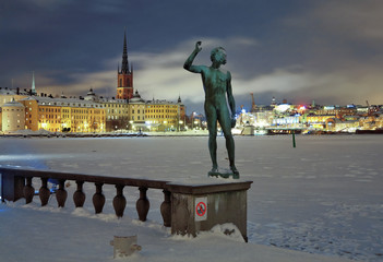 Stockholm, Statue on the background of the Riddarholmen island