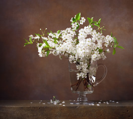 Still life with bouquet of cherry blossoms in a glass jug