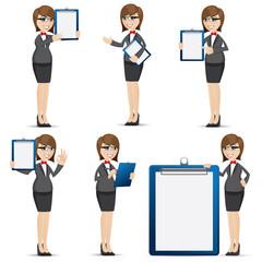 cartoon businesswoman with blank board set