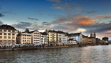 View of Limmat river and Zurich at dusk, Switzerland