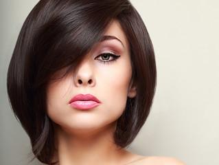 Beautiful bright makeup woman with black short hair