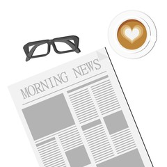 Newspaper, Glasses and Latte