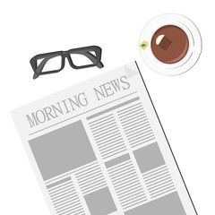 Newspaper, Glasses and Tea