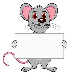 a mouse with a placard