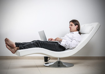 typing man