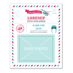 Baby Arrival Card - with Airplane Vintage Postcard