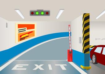 Underground parking garage. Vector illustration